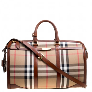 Burberry Brown House Check Fabric Bridle Duffle Bag