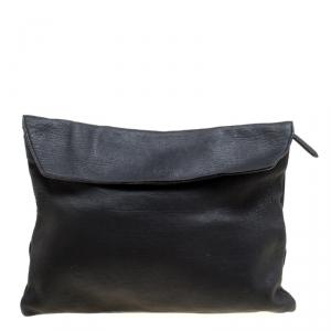 Burberry Black Leather Flat Envelope Clutch