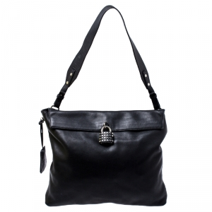Burberry Black Leather Lock Messenger Bag