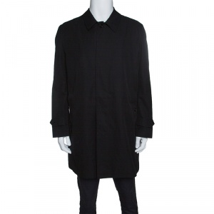 Burberry London Black Gabardine Car Coat 3XL