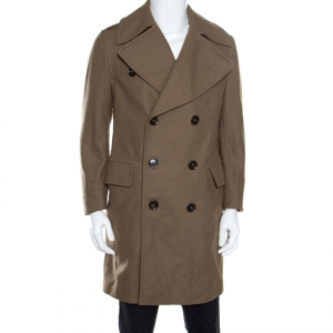Burberry Brown Wool Double Breasted Coat M