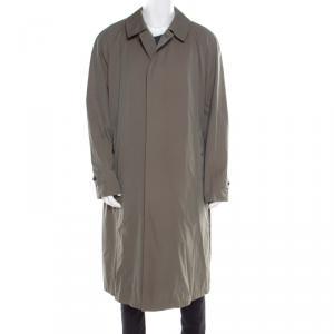 معطف طويل بربري قطن تويل برايتون أخضر طباشيري 4XL