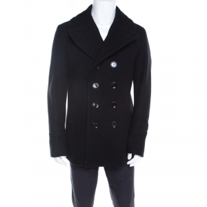 Burberry Brit Black Wool Eckford Double Breasted Coat L