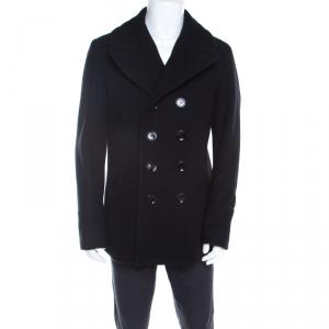 معطف بربري بريت إكفورد صوف أسود بصفين أزرار L