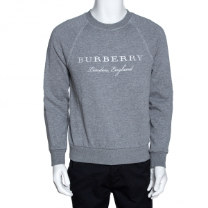 Burberry Grey Knit Logo Embroidered Crew Neck Jumper S