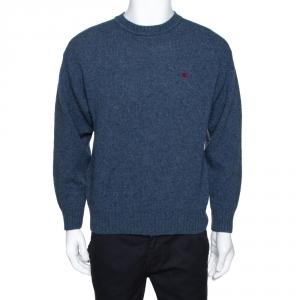 Burberry Navy Blue Wool Crew Neck Sweater L