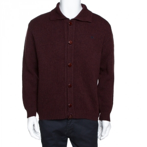 Burberry Burgundy Wool Button Front Cardigan L