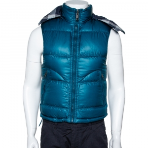 Burberry Brit Teal Down Quilted Hooded Reversible Jacket S