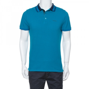 Burberry Teal Cotton Pique Striped Collar Polo T-Shirt L