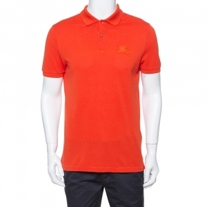 Burberry Brit Orange Cotton Pique Logo Embroidered Polo T-Shirt M