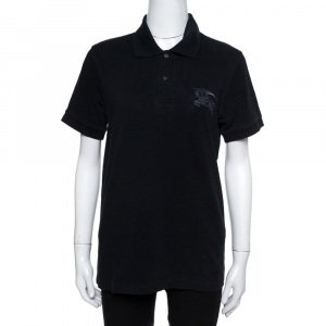 Burberry Black Cotton Embroidered Logo Slim Fit Polo T-Shirt S - used