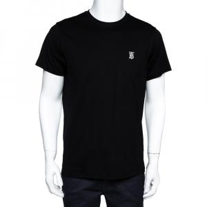Burberry Black Stretch Cotton Parker Logo Embroidered T-Shirt M