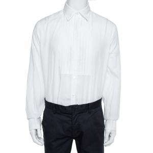 Burberry  White Cotton Jaden Double-Cuff Pleated-Bib Shirt XL
