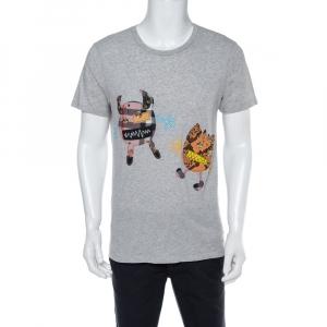 Burberry Grey Melange Cotton Creature Motif Embellished T-Shirt M - used