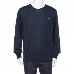 Burberry Brit Navy Blue Cotton Crewneck Sweatshirt XXL