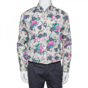 Burberry Multicolor Watercolor Floral Printed Cotton Button Front Shirt L - used
