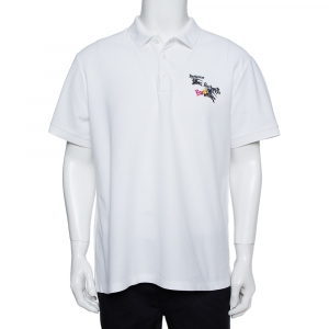 Burberry White Cotton Pique Triple Archive Logo Embroidered Polo T-Shirt XL - used