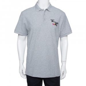 Burberry Grey Cotton Pique Triple Archive Logo Embroidered Polo T-Shirt XL - used