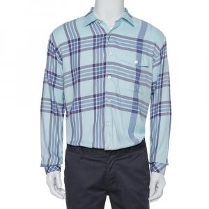 Burberry Blue Cotton Plaid Button Front Shirt M - used