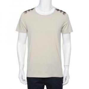 Burberry Beige Novacheck Shoulder Patch Detail T-Shirt L - used
