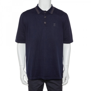 Burberry Navy Blue Cotton Rosston Polo T-Shirt XL - used