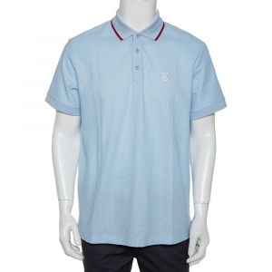 Burberry Blue Icon Striped Cotton Pique Polo T-Shirt XL - used