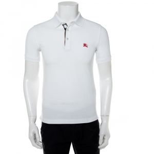 Burberry Brit White Embroidered Cotton Pique Polo T-Shirt XS - used