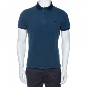 Burberry Deep Teal Blue Cotton Pique Contrast Collar Atkins Polo T-Shirt L - used