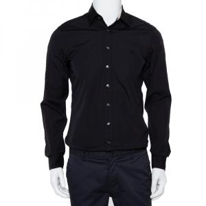 Burberry Brit Black Cotton Nova Check Detail Button Front Shirt S - used