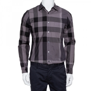 Burberry Brit Dark Grey Check Patterned Cotton Button Front Shirt S - used