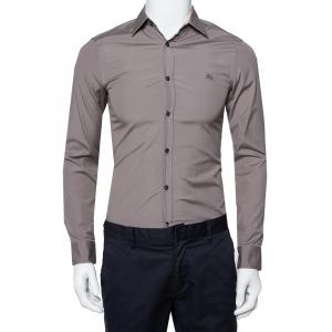 Burberry Brit Grey Cotton Nova Check Detail Button Front Shirt XS - used