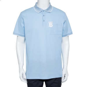 Burberry Blue Cotton Pique Logo Embroidered Polo T-Shirt L - used