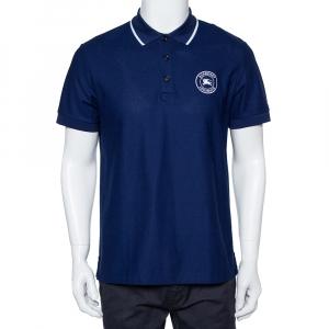 Burberry Navy Blue Cotton Pique Moreton Polo T-Shirt M