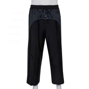 Burberry Black Wool & Mohair Band Trim Detail Track Pants L