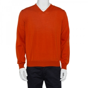 Burberry Burnt Orange Wool V-Neck Sweater M - used