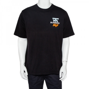 Burberry Black Logo Printed Cotton Crewneck Oversized T-Shirt M - used