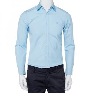 Burberry Blue Cotton Nova Check trim Detail Button Front Shirt XS - used