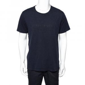 Burberry Navy Blue Cotton Knit Logo Printed Crewneck T-Shirt XL - used