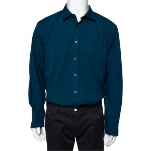 Burberry Dark Teal Blue Cotton Button Front Shirt XXL - used