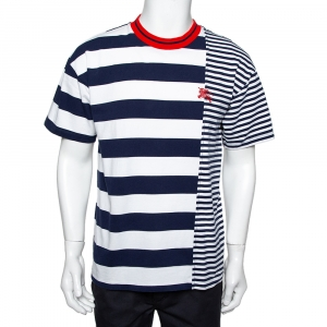 Burberry Blue & White Striped Cotton Contrast Collar T-Shirt M - used