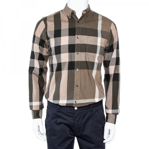 Burberry Brit Green Checkered Cotton Button Front Shirt M - used