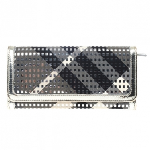 Burberry Silver Woven Leather and Canvas Large Ziggy Wallet