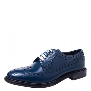 Burberry Blue Brogue Leather Alexton Lace Up Derby Size 43
