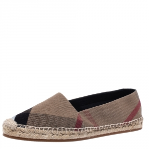 Burberry Multicolor House Check Canvas Flat Espadrille Size 40.5