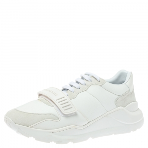 Burberry White Suede Leather And Fabric Low Top Sneakers Size 43.5