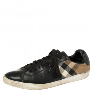 Burberry Black House Check Canvas And Leather Sneakers Size 44 - used
