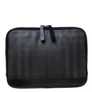 Burberry Black/Dark Brown Smoke Check PVC Laptop Sleeve