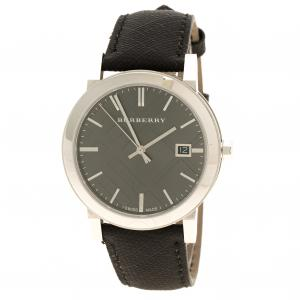 Burberry Silvered Black Stainless Steel Check Men's Wristwatch 39 mm