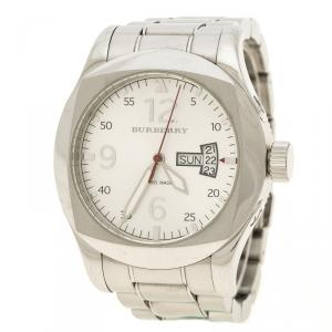 Burberry Silver White Stainless Steel Military Inspired BU7637 Men's Wristwatch 43 mm