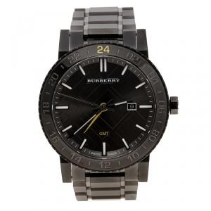 Burberry Grey Gunmetal Ion Stainless Steel GMT BU9340 Men's Wristwatch 43 mm